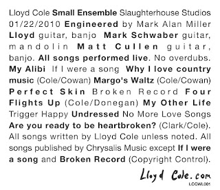Lloyd Cole and Small Ensemble Release Limited Edition White Label CD