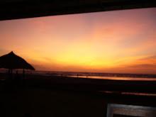 The sun sets,