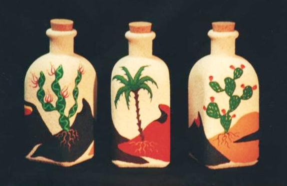 Artesanias yibi botellas de cristal decoradas con pintura y arena - Botellas de cristal decoradas ...