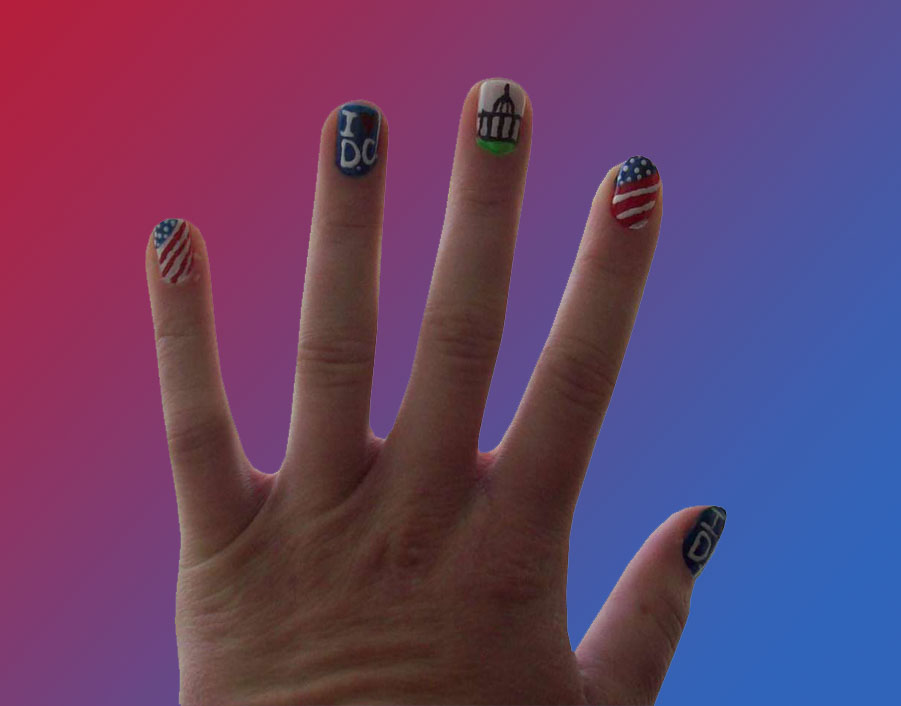 Fingernail art: Washington D.C. Inspired Nails