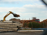 New pine logs being unloaded on Burnie Wharf -  - 8 Mar 2007