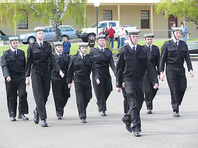 Marching past the inspecting officer, practice required