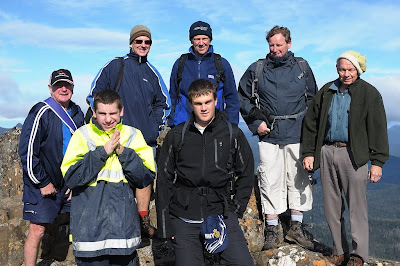 The crew on top of Hartz Peak. Great hat Phil!