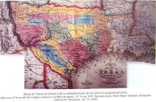 Mapa de Texas tiempos independencia colonos angloamericanos