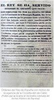 Ordenes del Rey de Espana vigencia Constitucion de Cadiz