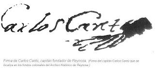 Firma del capitan Carlos Cantu fundador de Reynosa