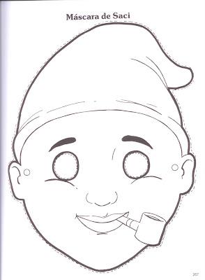 Imagem+187 Máscara do saci Folclore. para crianças