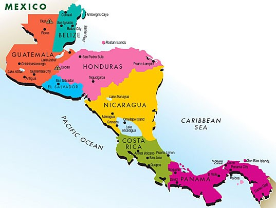 Labeled Map of Central America And The Caribbean Labeled Map of Central America