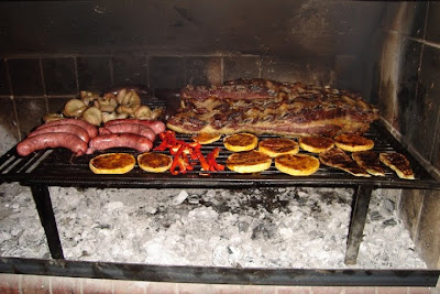 Parrillada: Argentinean Asado consisting of: Beef, Pork, Ribs, Pork Ribs, Chitterlings, Sweetbread, Sausage, Blood Sausage, Chicken.