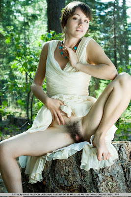 Hairy Brunette Spreads Her Legs Outdoors