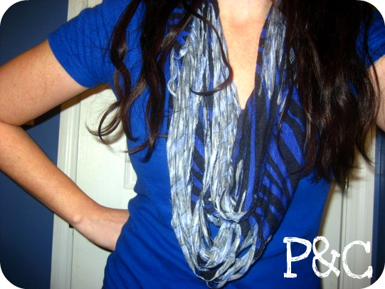 no sew shredded black blue zebra print jersey scarf from a dress