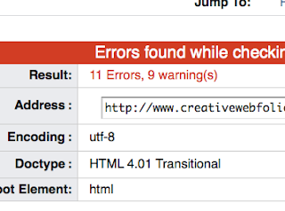 W3C screen shot showing that the XHTML doesn't validate
