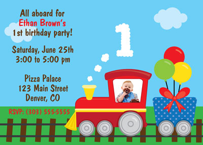 Bunny prints 1st birthday train photo birthday invitation our 1st birthday train photo birthday invitations are right on track filmwisefo