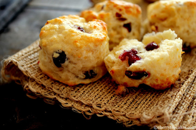 Five Cheese and Cranberry Scones recipe from cherryteacakes.com