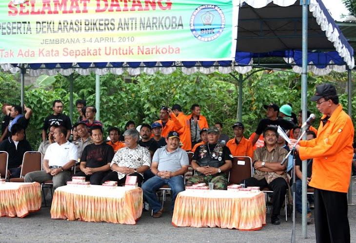 Laporan Ketua Panitia (Ketut Gunawan) saat Deklarasi Bikers Anti Narkoba 3 April 2010