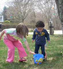 Egg hunt on the front lawn, Easter 2010.