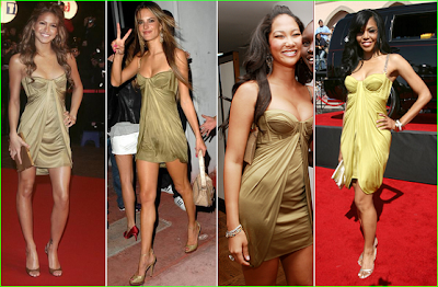 Amerie, Kimora Lee Simmons, Alessandro and Cassie ALL rock this mint green ...