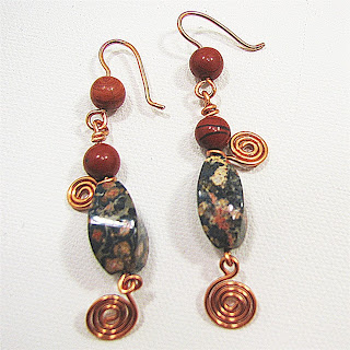 leopardskin jasper and poppy jasper at laurastaley.etsy.com