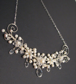 pearl wedding necklace with crystals at laurastaley.etsy.com