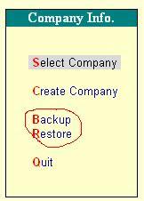 Backup/Restore in Tally