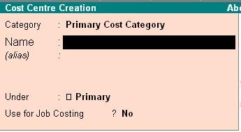 Image result for cost center creation window