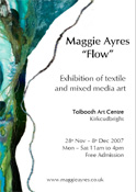 Poster for Maggie Ayres' Flow Exhibition of mixed media and textile art
