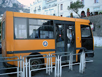 The orange bus to Anacapri