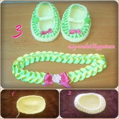 Zapatos de Bebe Tejidos con Adornos de Liston