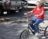 Photo of Lucille on bike.