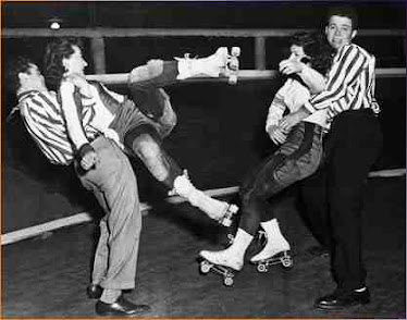 don't mess with any woman waring roller skates!