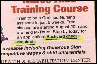 funny backyard background check job ad