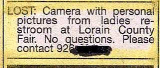 reall funny lost and found ad for camera with personal pictures discovered in restroom no questions asked