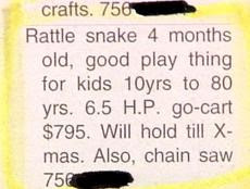 funny classifieds ad rattle snake for sale good play thing for kids