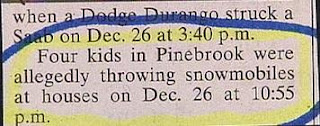 funny stupid newspaper police report about kids throwing snowmobiles not snowballs