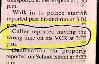 really stupid people police report about changed time on vcr