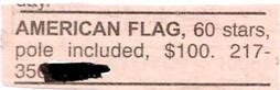 funny classified ad new american flag for sale with sixty stars