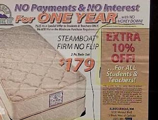 funny ad for mattress sale discount for students and teachers