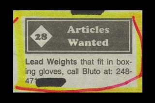 funny classified ad for articles wanted need weights that will fit into gloves