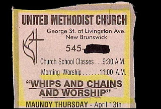 funny ad for church service that had whips and chains