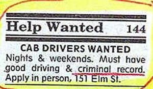 funny job ad situations vacant taxi driver required with criminal record