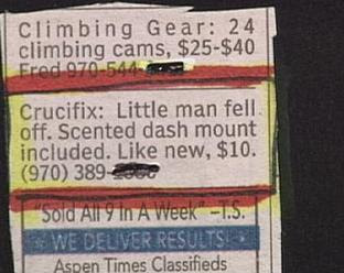 funny classifieds for sale crucifix but little man has fallen off could be jesus