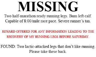 Missing: Two half-marathon ready running legs. Bum left calf. Capable of 8:00/mile race pace. Severe runner's tan.