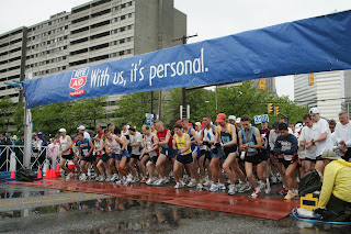 Cleveland Marathon takes off on a damp morning last year... this year, the rain was a little more active at take-off!