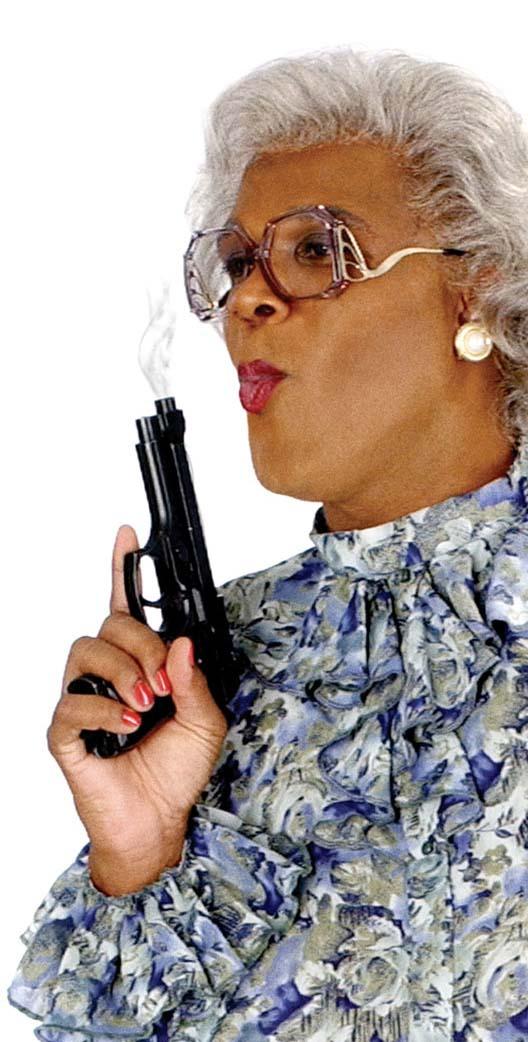 Hallelu-yer  Fictional Agent Friday  MADEA in da House Tyler Perry Madea Gun