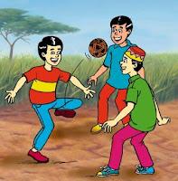 Mereka sedang bermain sepak raga di padang.