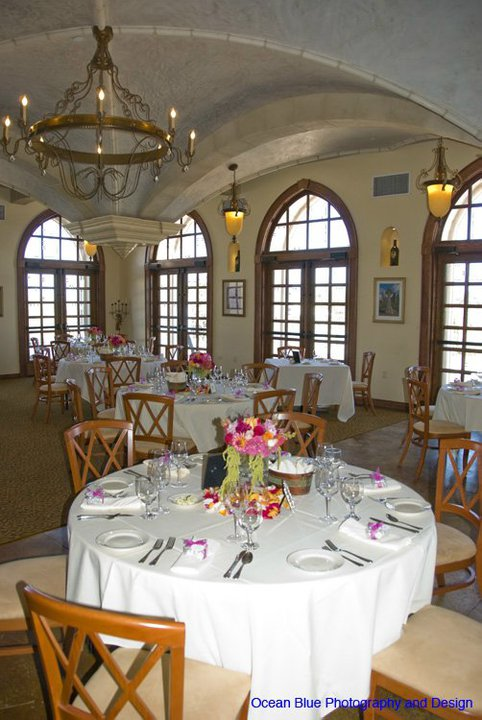 The neautral colored chairs and table linens complimented the venue 39s