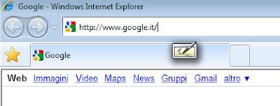 L'icona del TIP mostra la possibilità di inserire testo all'interno della barra degli indirizzi di Internet Explorer 8