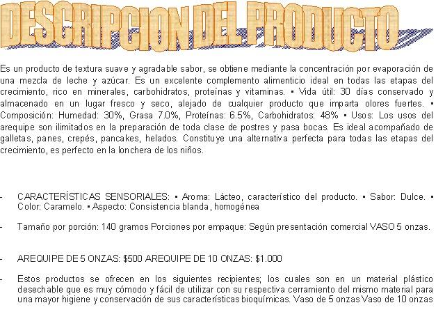 Arequipe delillanos descripcion del producto - Descripcion del producto ...