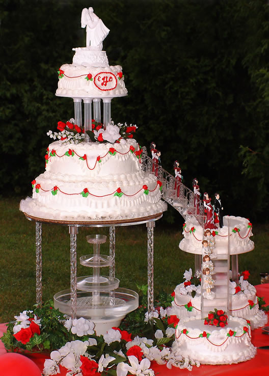 colorful wedding cakes with fountains