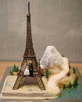 Paris Tower Above The Wedding Cake